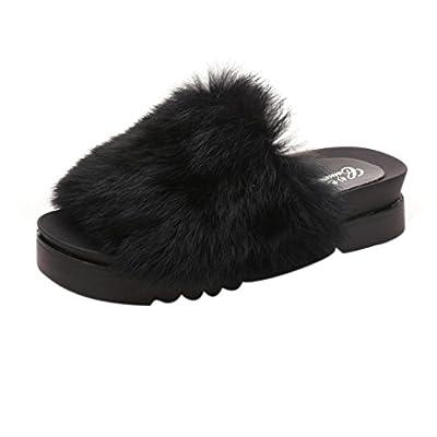Women Flat Slipper, Inkach Stylish Girls Fluffy Faux Fur Flip Flops Sandal Thick Bottom Sliders Shoes