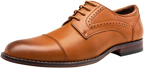 VOSTEY Men's Dress Shoes Classic Cap Toe Business Formal Men Oxfords (8,Brown)
