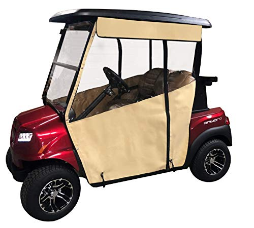 Tan Golf Cart Cover - 3-Sided Track Style Marine Grade Vinyl Cart Cover for Club Car Precedent - Rain Cover for Golfers, Club Car Golf Cart Cover - Fits Golf Bags, Utility Box or Rear Facing Seat