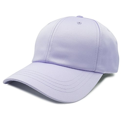 Nissi Satin Structured Curved Bill Adjustable Buckle Strapback Hat Cap - Light Purple (Lavendar) Purple Satin Hat