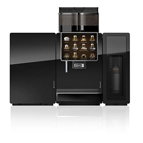 Franke A1000 FM Super Automatic Espresso Machine with SU12 CM FoamMasterTM Fridge and 6 syrup Flavor Station (Commercial Use Only) – 2 grinders, 2 powders, hot water wand, locking containers, cup recognition, iQFlow, 2 gallon milk, 6 unit Flavor Station