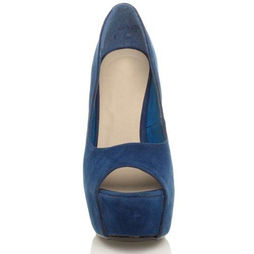 Ouvert Talon Pointure Classique Sombre Daim Bleu Chaussures Nuit Sandales Haut Bout Plateforme Femmes ISxO5qpx