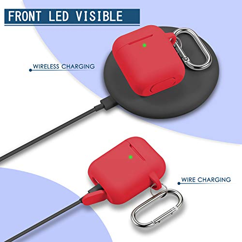 AirPods Case Cover with Keychain, Full Protective Silicone AirPods Accessories Skin Cover for Women Girl with Apple AirPods Wireless Charging Case,Front LED Visible-Red