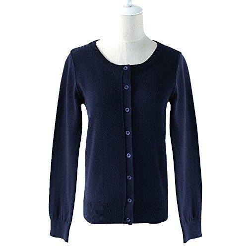 Wiwish Women Button Down Long Sleeve Crewneck Soft Cotton Classic Knit Cardigan Sweater Size XS-XL,Navy Blue,X-Large