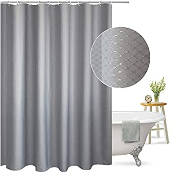 Aoohome Extra Long Shower Curtain Fabric Bathroom Waffle Weave Pattern With Weighted Hem Heavy Duty Mildew Resistant 72x86 Inch Grey