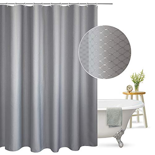 Aoohome Extra Long Shower Curtain Fabric Bathroom Curtain Waffle Weave Pattern with Weighted Hem, Heavy Duty, 72x86 Inch, Grey (Grey Shower Curtain Long)