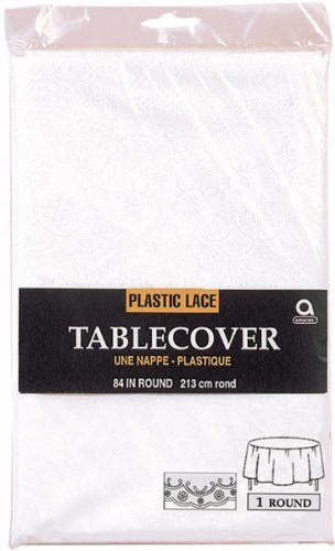 Amscan 77003 White Lace Round Plastic Table Cover