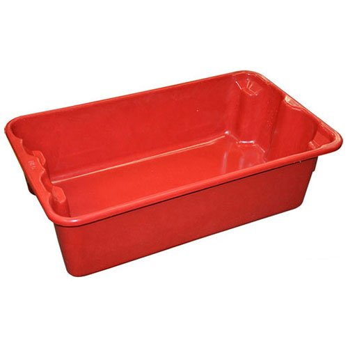 Molded Fiberglass Nest and Stack Tote 780208-5280 - 17-7/8'' x10''-5/8'' x 5'' Red - Lot of 12