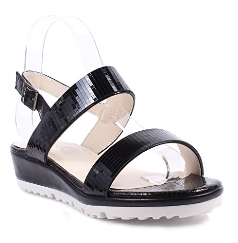 New Glitter Summer Slingback Blink Buckle Wedge Womens Sandals 1.5' Heels Shoes (8.5, Black)