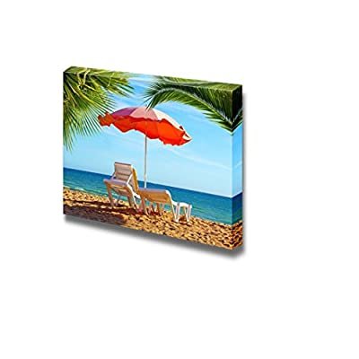 Beautiful Scenery Landscape Beach Chair and Umbrella with Palm Trees on The Beach Vacation Resort Concept - Canvas Art Wall Art - 24