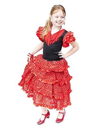 4857bfdda6dc La Senorita Spanish Flamenco Dress - Girls/Kids - Red/Black: Amazon ...