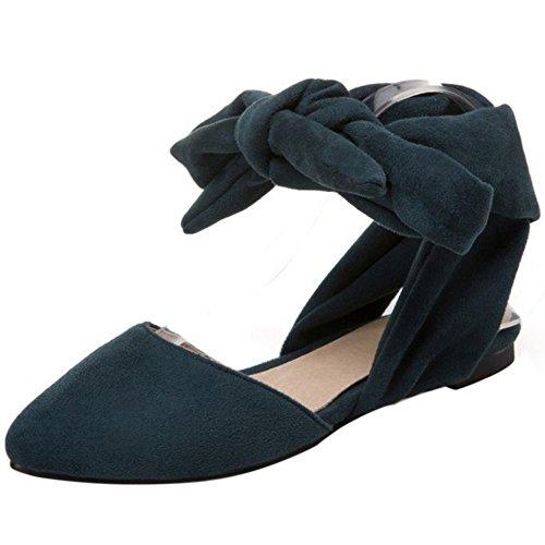 COOLCEPT Mujer Moda Cordones Sandalias Plano Cerrado Slingback Zapatos Tamano Verde