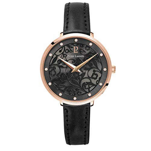 Women's Watch Pierre Lannier - 039L933 - EOLIA - Black and Rose-Gold - Leather Band