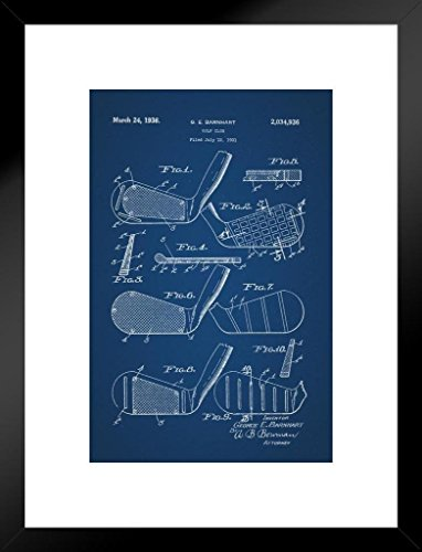 Poster Foundry Golf Club 1931 Official Patent Blueprint Matted Framed Wall Art Print 20x26 inch