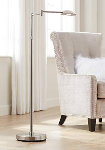 (Eliptik Modern Floor Lamp Swing Arm Satin Nickel LED Touch On Off Dimmer for Living Room Reading Office - Possini Euro Design)
