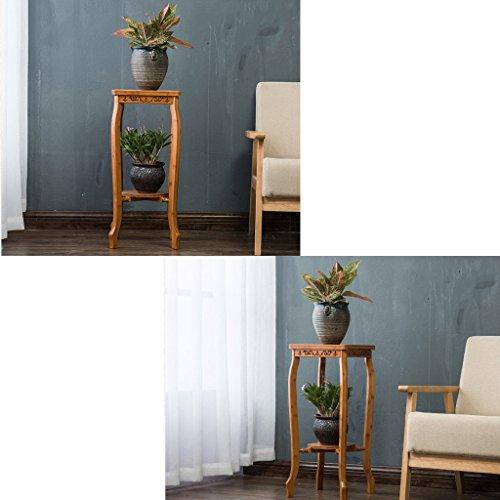 JUN Etagère à fleurs Etagère de jardin pour plante plante plante 2 niveaux support de fleurs étagère en bambou étagère décorative étagère décorative en bambou pour fleur de plantes Pots suppor 272d15