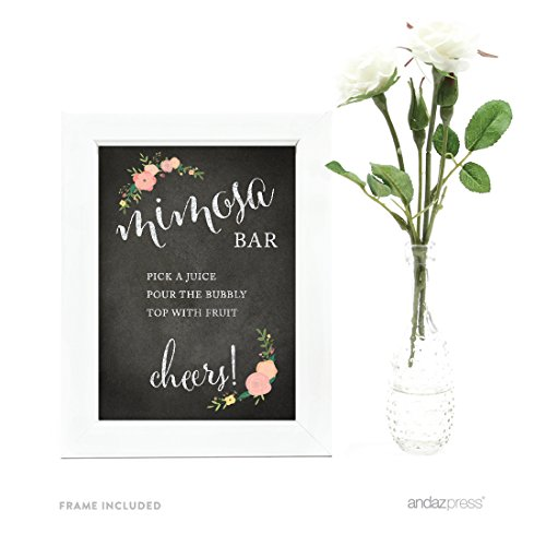 Andaz Press Wedding Framed Party Signs, Chalkboard Floral, 5x7-inch, Build Your Own Mimosa Sign Pick a Juice, Pour the Bubbly Champagne, Top with Fruit Cheers!, 1-Pack, Includes Frame