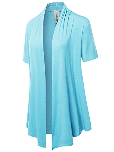 Solid Jersey Knit Draped Open Front Short Sleeves Cardigan Aqua2 L