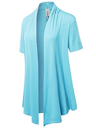 Solid Jersey Knit Draped Open Front Short Sleeves Cardigan Aqua2 L ()