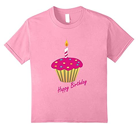 Kids Little Girls Birthday Pink Cupcake Print Shirt Teens, Youth 8 Pink - Pink Cupcake Print