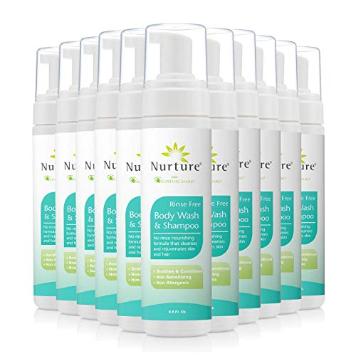 No Rinse Body Wash & Shampoo by Nurture | Hospital Grade Full Hair & Body Cleansing Foam with Aloe Vera – Non Allergenic – Non Sensitizing – Rinse Free Wipe Away Foaming Cleanser – 12 Bottles