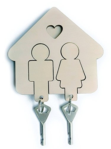 Key Holder & 2 Key Chains, Wall Mount Key Hanger with Cute His & Hers Keychains, Premium Wooden Key Organizer, Easy Install Sticker Fastening, Nice DIY Idea & Great Gift for Couples
