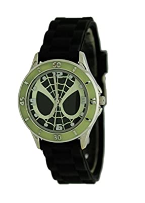 Marvel #SPD3413 Glow-in-The-Dark Spider-Man Watch with Black Silicone Band by MarvelX