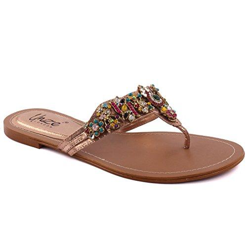 Unze Las nuevas mujeres MATIZ rebordearon el resbalón ocasional del verano de la tarde en el tamaño plano 3-6 del dedo del pie del dedo del pie abierto Multi
