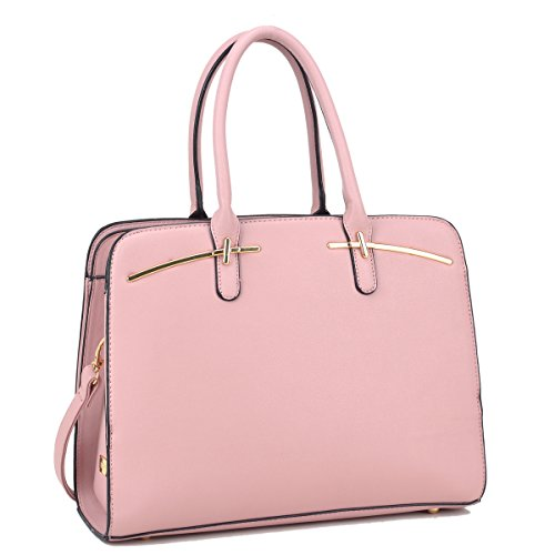 DASEIN Women Briefcase Handbag Large Satchel Purse Designer Structured Work Bag with 3 (Pink Leather Briefcase)