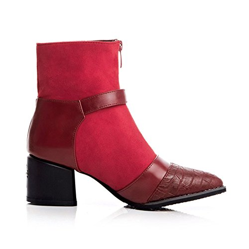 Heels Red Thick Ankle Platform AIWEIYi Pointed High Belt Buckles Booties Black toe Womens Boots qxwB0Ow1p