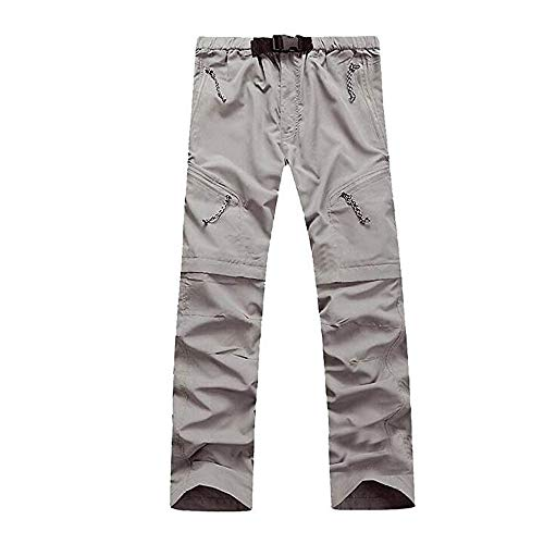 Evere Men Mountain Pants Convertible Lightweight Outdoor Sports Quick Dry Cargo Trousers Hiking Fishing Camping,Grey,L ()