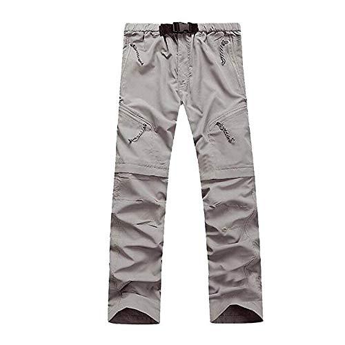 Evere Men Mountain Pants Convertible Lightweight Outdoor Cargo Trousers,Grey L