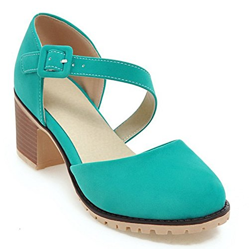 Womens Shoe Faux Suede Basic Chunky Mid Heel Ankle Strap Pumps 2ldmSiBx91