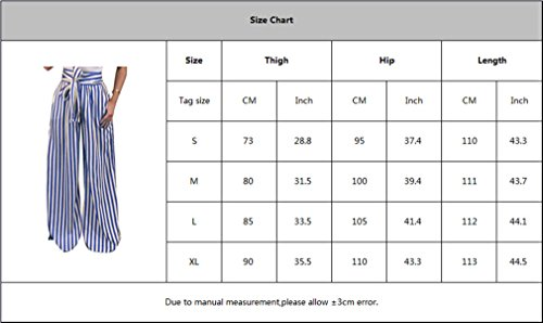La 1 Bureau Longs Pantalons OL Pantalons Femme t Taille lgant Bleu Fit Moyenne Ray Taille Mode Casual Loose Jambe Plus Large Pantalon 6qnSn1U