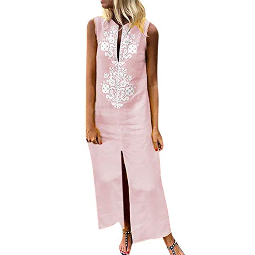 Women's Long Beach Dress,LuluZanm Sales Ladies Summer Printed Sleeveless O-Neck Split Hem Baggy Maxi Dresses Pink