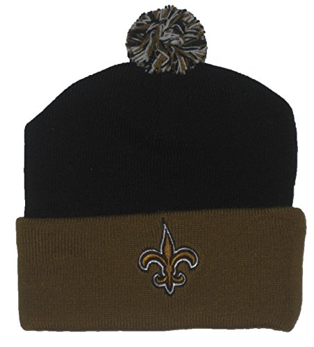 Reebok New Orleans Saints Youth Black & Gold Cuffed Ball Top Knit Beanie ()