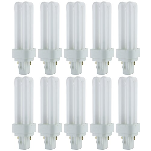 Sunlite PLD13/SP27K/10PK 2700K Warm White Fluorescent 13W PLD Double U-Shaped Twin Tube CFL Bulbs with 2-Pin GX23-2 Base (10 Pack)
