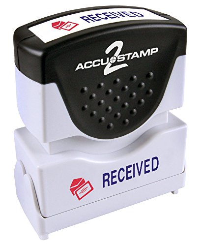 "ACCUSTAMP ""RECEIVED"" Shutter Stamp with Microban Protection, Pre-Inked Red and Blue, Message Stamp (035537)"
