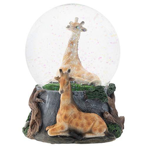 Elanze Designs Giraffe Friend Couple 100MM Musical Water Globe Plays Tune Born Free