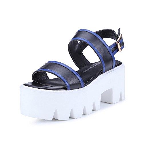AgooLar Women's Open Toe Kitten Heels Buckle Assorted Color Sandals Black