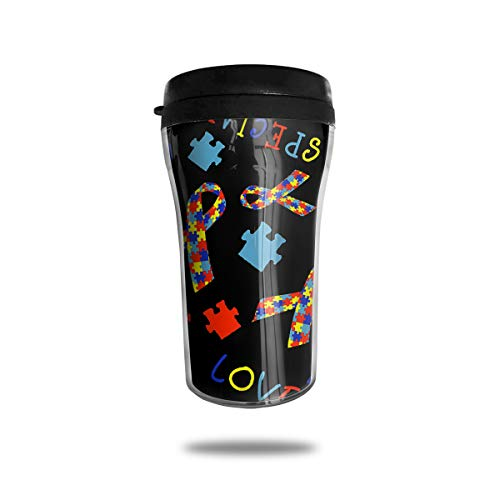 FUNSTYEET Autism Awareness Ribbon Travel Mug Coffee Cup Lid for Ice Drink & Hot Beverage Reusable,8 Ounces ()
