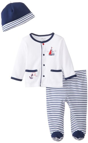 Little Me Baby-Boys Newborn Nautical Take Me Home Set, Navy Stripe, 3 Months
