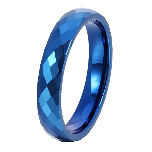 GER Tungsten Carbide Ring Wedding Band Honeycomb Ring with Diamond Shaped Pattern for Women Anniversary Gift