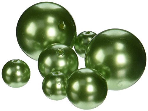 (Firefly Imports Homeford Assorted Plastic Bead Pearls, Apple Green, 14mm/20mm/30mm)