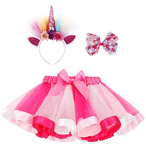 Simplicity Birthday Tutu Rainbow Layered Tulle Tutu Skirt for Party Unicorn Headband Hair Bow