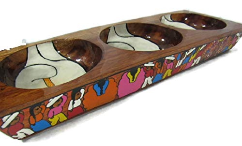 Hand Painted Mexican Folk Art - HAND CRAFTED WOODEN CARVED PAINTED 3-SPACE TRAY CONDIMENT SALSA CANDY NUT DISH MEXICAN FOLK ART (White Wedding Lillies)
