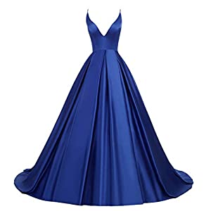 Ruolai Women's Spaghetti Straps Prom Dresses Long Satin Evening Dress Formal Gown with Pockets