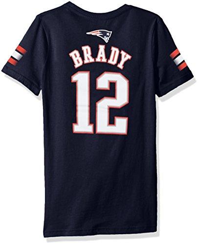 Nfl Girls 7 16 Tom Brady New England Patriots Main Stripes V Neck Player Name   Number Short Sleeve Tee  Dark Navy  Medium  10 12