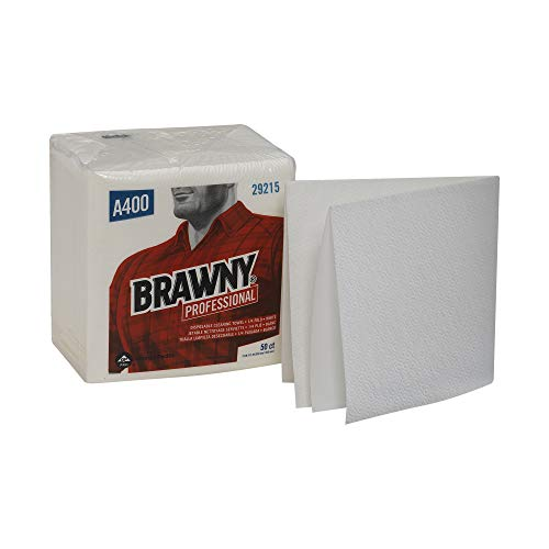 Brawny Professional 1/4-Fold A400 Disposable Cleaning Towel by GP PRO (Georgia-Pacific), White, 29215, 50 Towels Per Pack, 16 Packs Per Case (800 Total)