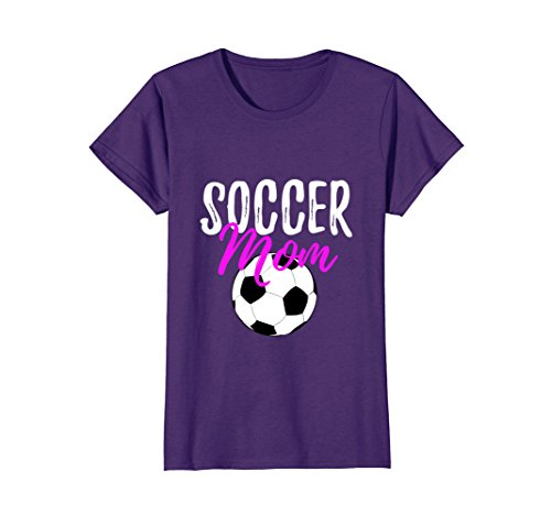 Womens Soccer Mom T-Shirt Funny Shirt for Sport Mothers Large Purple